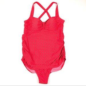 MOTHERHOOD MATERNITY swimsuit L red polka dot i418